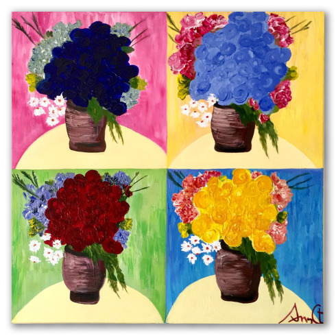 Obra colorida y moderns, jarrones Pop de A. Croxatto
