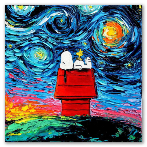 Snoopy en la noche estrellada, al óleo