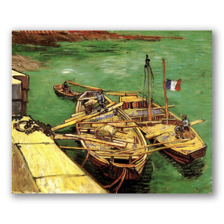 Muelle con Hombres Descargando Barcazas de Arena