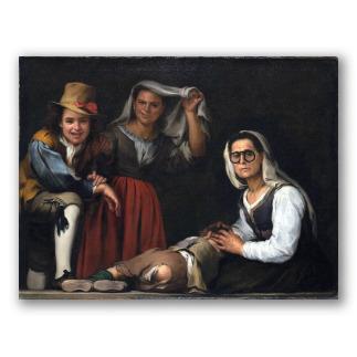 Cuatro figuras en un escalón