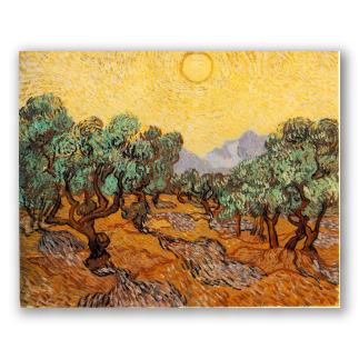 Olivos con Cielo Amarillo y Sol